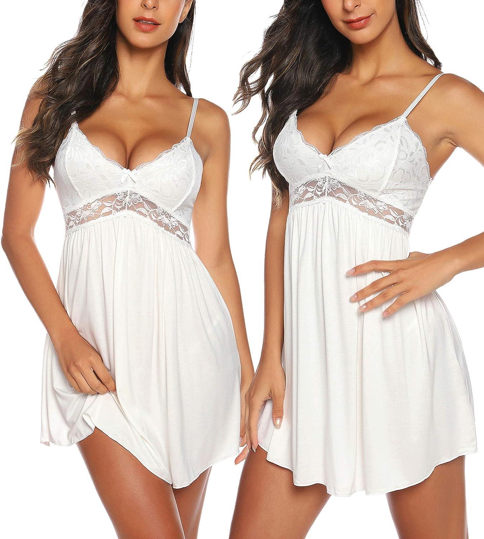 Women Sexy Lingerie Sleepwear Lace Chemises V-Neck Full Slip Babydoll Nightgown Dress