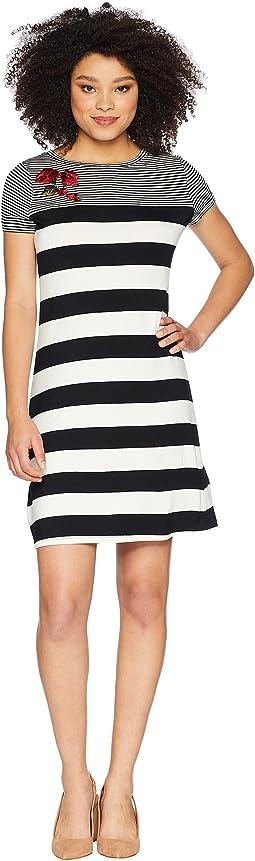 Calvin Klein Stripe Dress w/ Embroidery