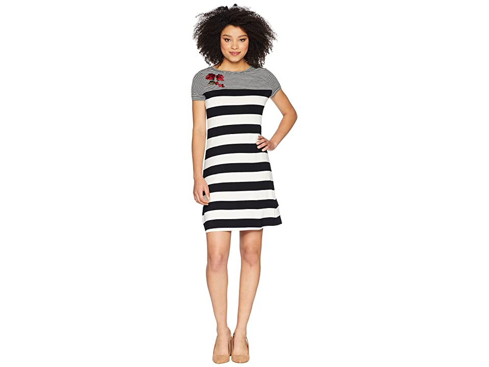 Calvin Klein Stripe Dress w/ Embroidery (Black/White Stripe) Women