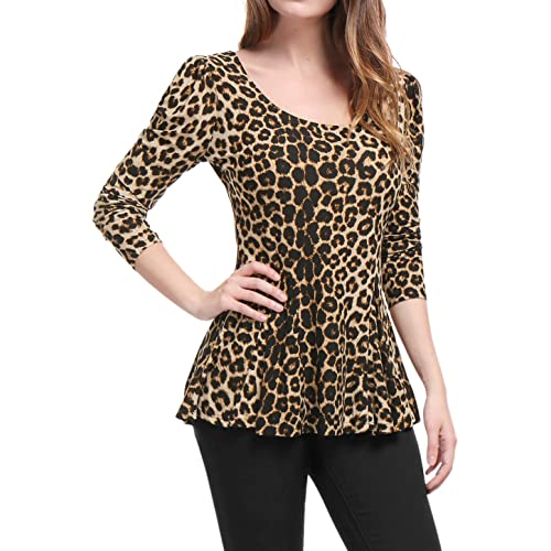 USA Women Summer Long Sleeve Animal Print Button UP Turn Down Blouses Shirts