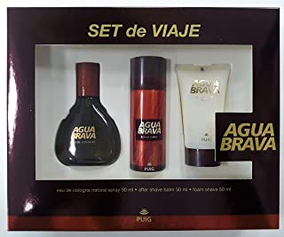 Agua Brava Set de Viaje Eau de Cologne Spray 50 ml + After Shave Bálsamo 50 ml + Espuma Afeitar 50 ml