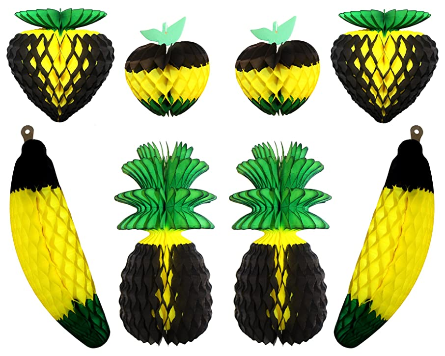 8-piece Complete Jamaican Honeycomb Fruit Party Decoration Set (Black / Yellow / Green)
