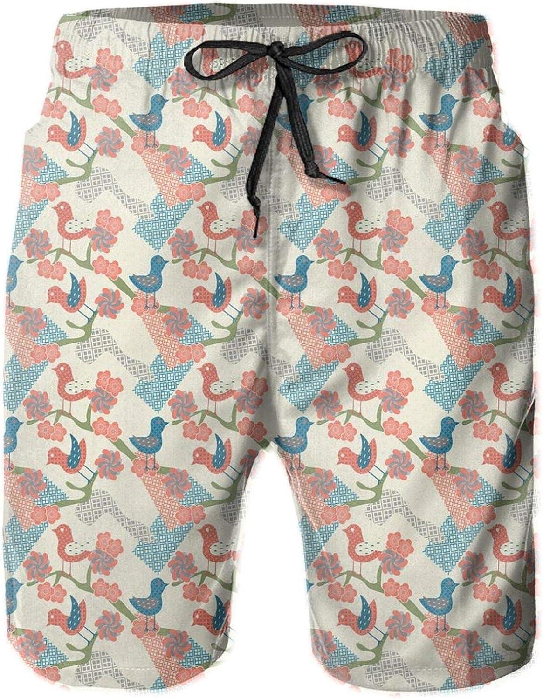 Japanese Folklore Inspired Pattern of Avian Animals On Geometric Background Drawstring Waist Beach Shorts for Men Swim Trucks Board Shorts with Mesh Lining,XXL