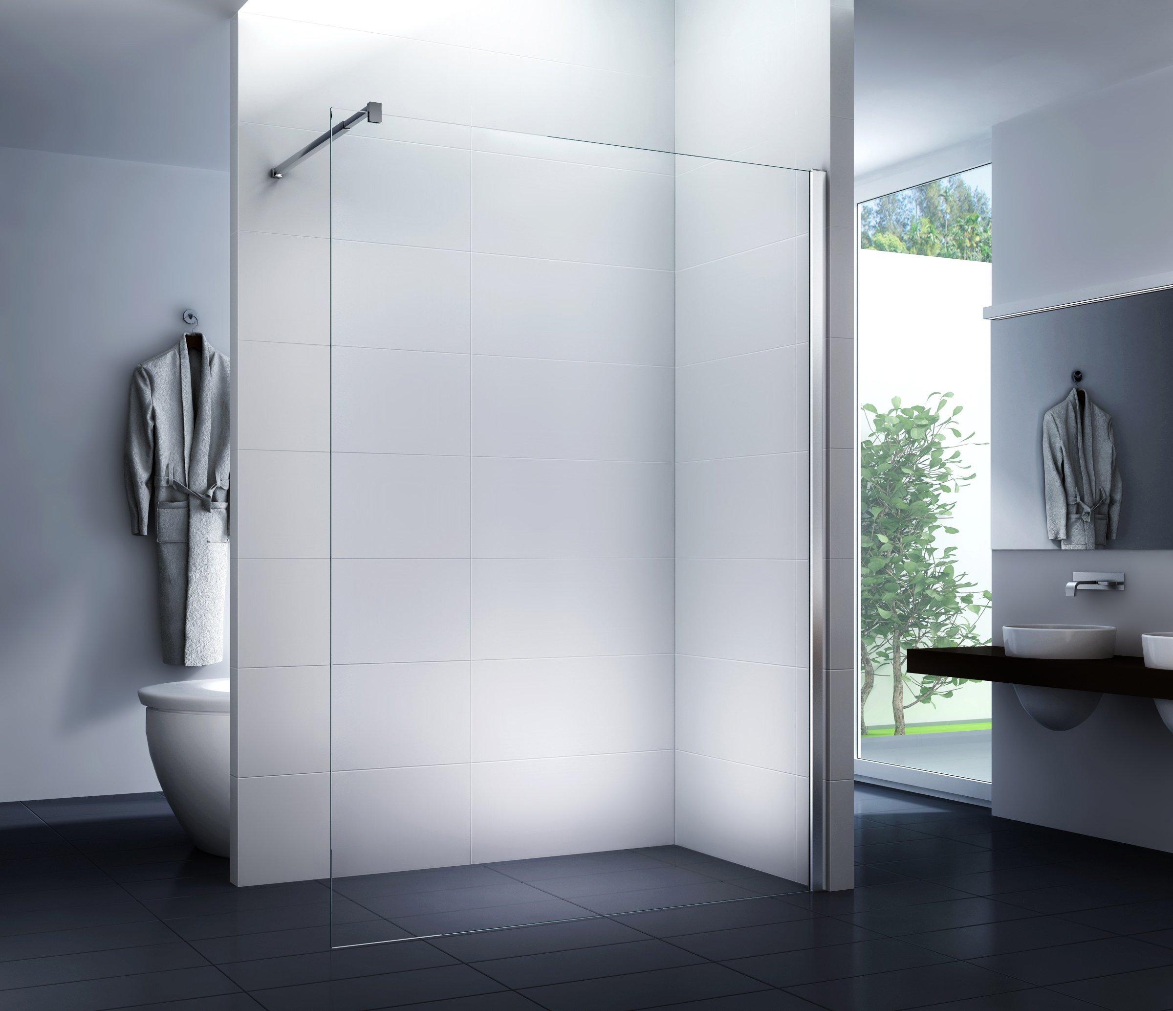 Mampara de ducha 130 x 200 cm Walk-In Cabina de ducha Ducha 10 mm ...