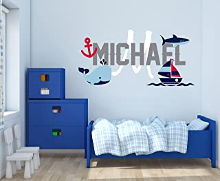 """Custom Name & Initial Boat Anchor Whale & Shark - Baby Boy - Nursery Wall Decal For Baby Rom Decorations - Mural Wall Decal Sticker For Home Children`s Bedroom (R75) (Wide 24"""" x 12"""" Height)"""