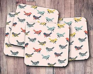 Posavasos rosa con diseño de pájaros multicolores, posavasos individuales o juego de 4