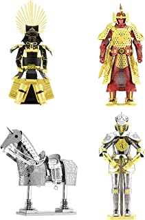 Fascinations Metal Earth 3D Metal Model Kits Armor Set of 4 - European Knight - Horse - Japanese Toyotomi - Chinese Ming