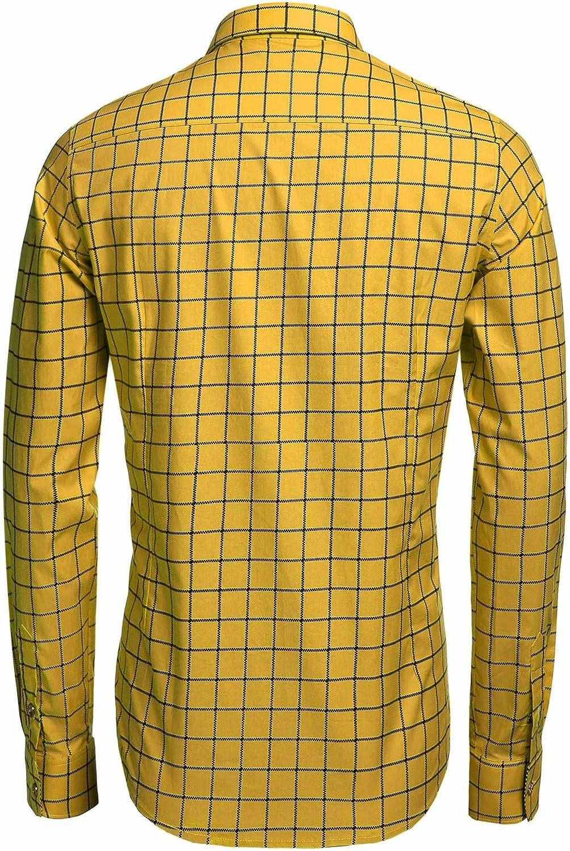 COOFANDY Men's Fashion Long Sleeve Plaid Button Down Shirts Casual Dress Shirt