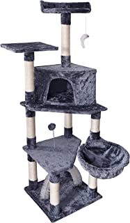 """ROYPET 57"""" Fashion Design Large Cat Tree with Scratching Post,Grey"""