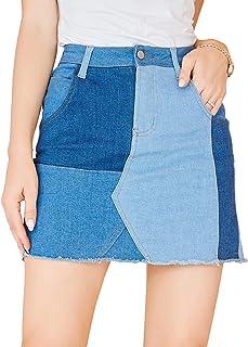 Summer Bodycon Denim Skirts for Women Short Contrast...