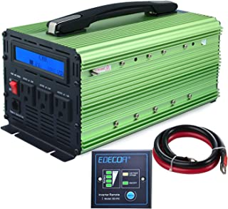 EDECOA 2000W Power Inverter 3 AC Outlets DC 12V to 110V 120V AC with LCD Display and Remote Controller