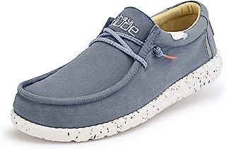 Hey Dude Wally Washed - Mocasines para Hombre - Color Blue Stone Yellow - Zapatos para Hombre Ligeros y cómodos - Talla EU