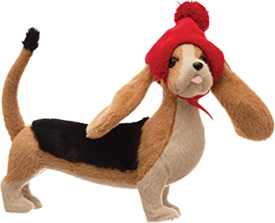 """Creative Co-Op 13-1/4""""L x 5-3/4""""W x 11-3/4""""H Fabric Basset Hound w Pom Hat, Multi Color Figures and Figurines"""