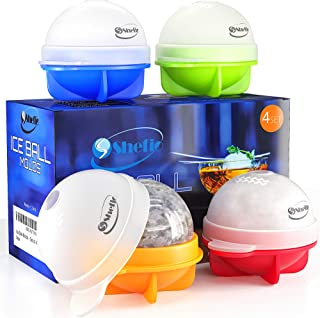 Unique Ice Ball Maker Sphere Mold - 4 Pack - Round Ice Cube Mold - Make Large 2.5-inch Ice Cube Balls for Whiskey - Lightweight, Flexible & Durable Spherical Silicone Ice Tray- Multicolor