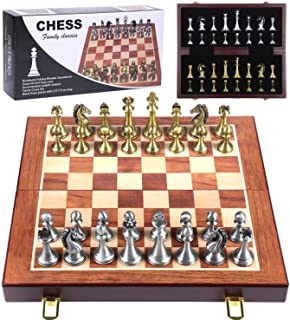 Metal Chess Set - Chess Board Game for Adults and Kids - Wooden Folding Travel Chess Board with Metal Pieces