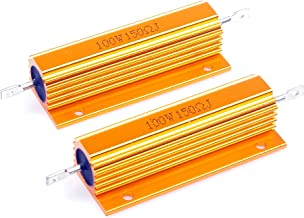 LM YN 100 Watt 150 Ohm 5% Wirewound Resistor Electronic Aluminium Shell Resistors Gold Suitable For Inverter, LED lights,Frequency Divider, Servo Industry 2-Pcs
