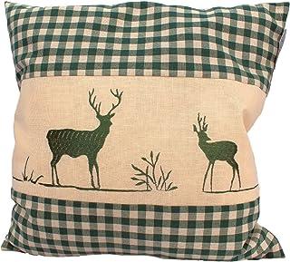 Enstaka kudde grön plaid med hjortbroderi fylld med stenflingor 100% Alperna Zirbenwood i Extra Inlett storlek 40x40cm