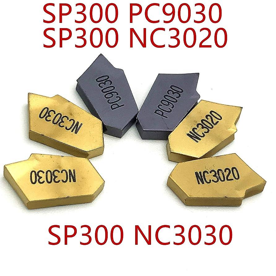 迫害言い直す突き刺す溝入れ旋盤SP300 PC9030 / NC3020 / NC3030超硬インサートSP 300旋盤工具CVD + PVD炭化タングステン (サイズ : SP300 PC9030)