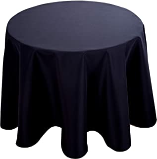Biscaynebay Fabric Tablecloths, Water Resistant Spill Proof Table Cloths for Dining, Kitchen and Parties, Black 60 Inches Round