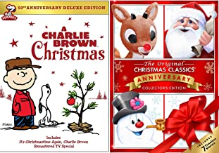 Original Christmas Classics Rudolph & Frosty the Snowman DVD + Charlie Brown Christmas Peanuts Special Holiday Cartoons / Mr. Magoos Carol / Little Drummer Boy / Santa Claus is Comin to Town /Cricket