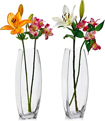 Set of 2 Glass Square Vases 13.75 Inch Tall X 4.25 Inch Square - Multi-use: Pillar Candle, Floating Candles Holders or Flower Vase – Perfect as a Wedding Centerpieces.
