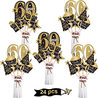 Blulu 60th Birthday Party Decoration Set Golden Birthday Party Centerpiece Sticks Glitter Table Toppers Party Supplies, 24...