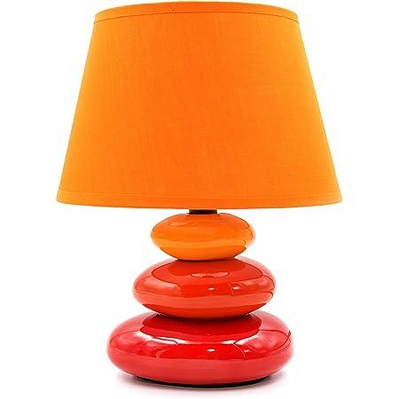 Lampe de chevet Lina, avec 3 pierres, orange