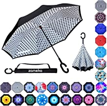 Z ZAMEKA Double Layer Inverted Umbrellas Reverse Folding Umbrella Windproof UV Protection..