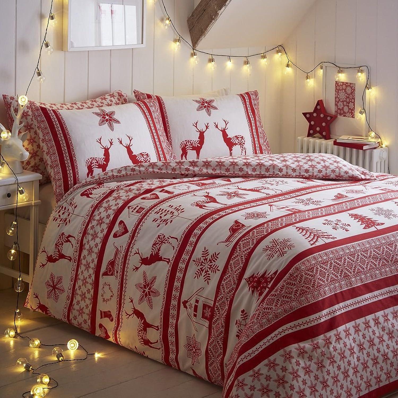 Tony's Tony's Tony's Textiles - Bettwäscheset mit Deckenbezug - Weihnachten, Schneeflocke, Rentier - Grau Weiß - Rot Weiß - KingGröße B01LT7EVXO 3755c2