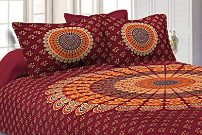 JaipurFabric Jaipuri Print Cotton Double Bedsheet with 2 Pillow Cover Set Red Mandala Bedsheet Tapestry Floral Print 120TC King Size, 86 x 106 inch (Red)