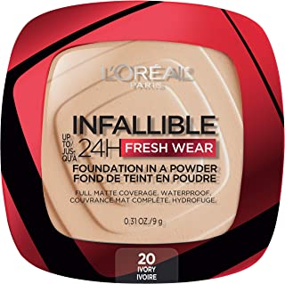 L'Oreal Paris Infallible Fresh Wear Foundation in a Powder, Up to 24H Wear, Ivory, 0.31 oz.