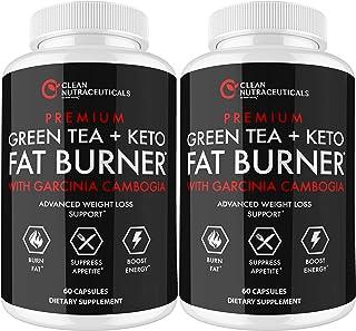 Green Tea, Keto, Garcinia Cambogia Fat Burner, Green Tea Extract Supplement with EGCG, Diet Pills, Appetite Suppressant, M...