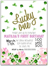 Lucky One Birthday Party Invitation, 5 inches by 7 inches, Envelopes Included, Printed or Digital DIY Party Supplies Invitation Cards