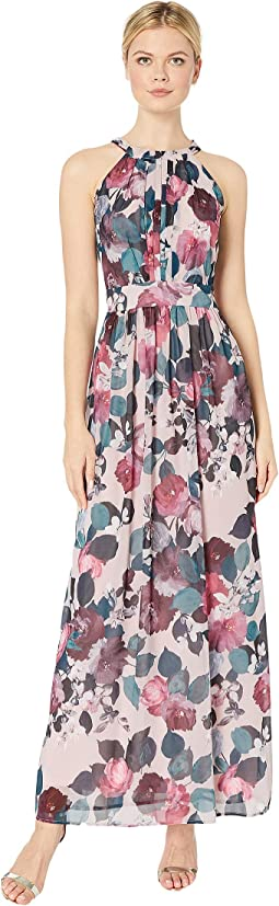 Printed HMC Pleated Bodice w/ Shirring at Waist Maxi Dress