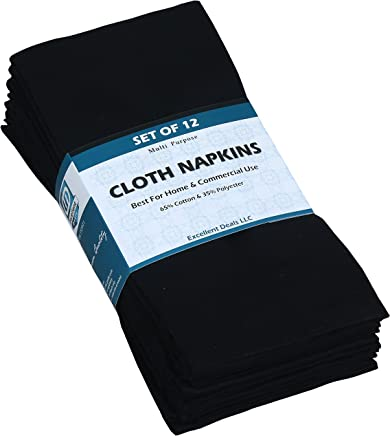 featured product Cloth Napkins (Black,  12 Pack) 18x18 inches Fabric Napkins,  Poly-Cotton Dinner Napkins Ideal for Home & Commercial Use - Durable Restaurants Napkins - Easy Clean Machine Washable Banquets Napkins.