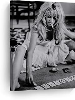 Sexy Actress Brigitte Bardot Playing Cards and Smoking Black and White Wall Art Canvas Print Sexy French Icon Artwork Home Decor Wall Decor Stretched Ready to Hang-%100 Handmade in The USA - 22x15
