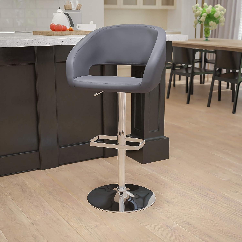 BizChair Gray Vinyl Department store Finally resale start Adjustable Mid-Back Height Rounded Barstool