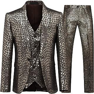Men's 3 Piece Suit Slim Fit Stylish Printed Floral Dress Suit One Button Notched Lapel Prom Tuxedo
