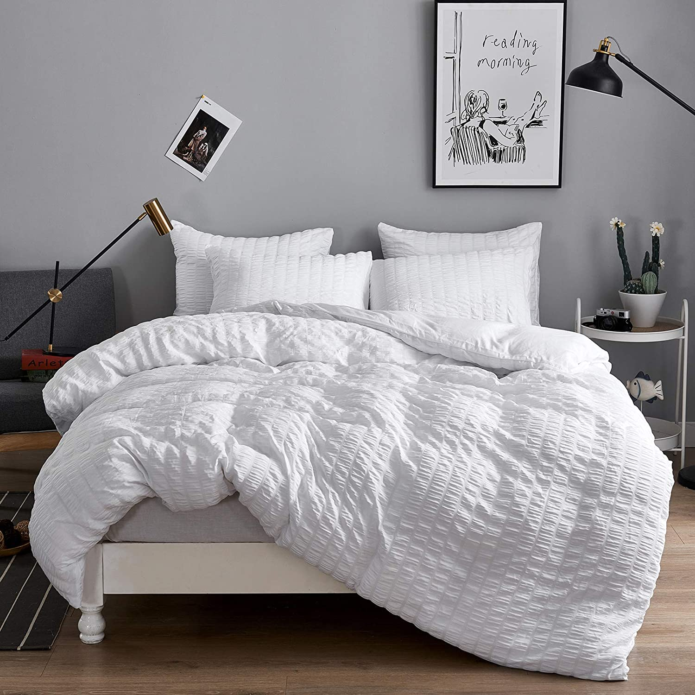 Seersucker Duvet 信頼 Cover 予約販売品 Sets Ultra Double Soft Set Queen Bedding