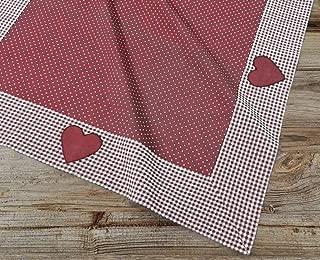 Red//White poli/éster La Lino Gingham a Cuadros Mantel Cuadrado 147.32 x 147.32 x 0.04 cm