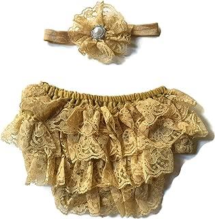 Rush Dance Lace Ribbon Baby Ruffle Bloomers Diaper Covers & Headband
