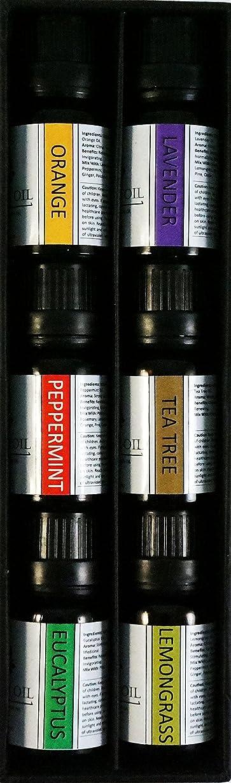 安定しましたにじみ出る約束するオーガニックエッセンシャルオイル10mlx6本 セット 【レモングラス、 ラベンダー、 ペパーミント、 ユーカリ、 オレンジ、 ティーツリー】 Essential Oil Set 10mlx6 (Lemongrass, Lavender, Eucalyptus, Peppermint, Orange, Tea Tree)