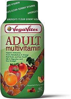 VegaVites Gummy Adult Multivitamin – 60 mg of Vitamin C – Vegetarian, Halal & Kosher – 12 Essential Vitamins and Minerals ...