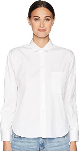 Long Sleeve Shirt Round Collar Pocket on the Front