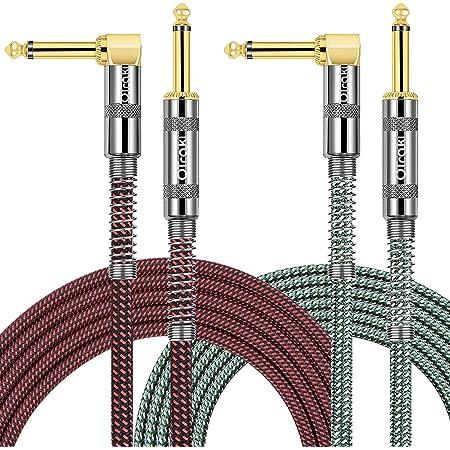 """OTraki Câble Guitare d'instrument 3 mètres 1/4"""" 6.35mm Mâle à Mâle Tweed Tissé 10ft cables jack guitare pour Guitare Electrique Basse Clavier Electronique - Paquet de 2"""