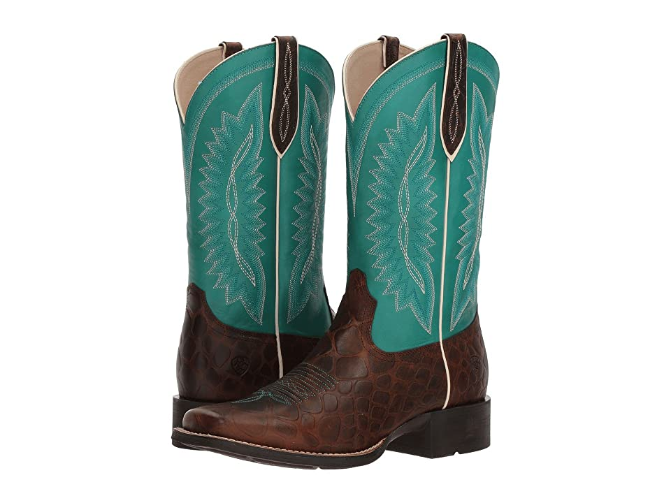Ariat Quickdraw Legacy (Brown Rowdy Croc Print/Naturally Turquoise) Cowboy Boots