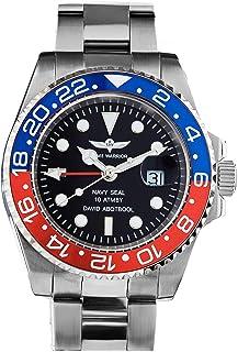 Time Warrior Navy Seal GMT Swiss Men's Wrist Watch - Ceramic Bezel, Ronda 505 Swiss Quartz Movement, Men's Watch Pro Diver...