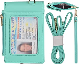 """Beurlike Genuine Leather 2-Sided ID Badge Holder Wallet with 1 ID Window, 3 Card Slots with Cover, 1 Side Zipper Coin Pocket, 1 Piece 18.1"""" Neck Lanyard and 1 Piece 6"""" Hand Wristlet (Teal)"""