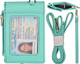Beurlike Leather 2-Sided ID Badge Holder Wallet with 1 ID Window, 3 Card Slots with Cover, 1 Side Zipper Coin Pocket, 1 Piece 18.1