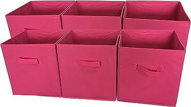 Sodynee Foldable Cloth Storage Cube Basket Bins Organizer Containers Drawers, 6 Pack, Fuchsia